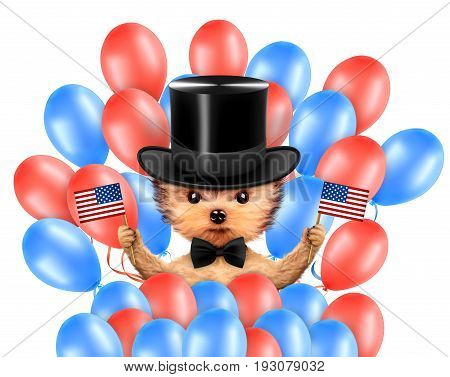 Funny dog holding USA flags and surrounded by balloons. Concept of 4th of July and Independence Day, Realistic 3D illustration.