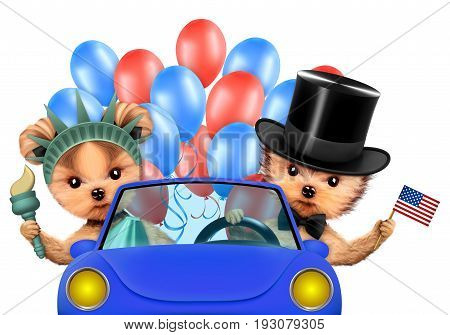 Funny dogs holding USA flags, sitting on car and surrounded by balloons. Concept of 4th of July and Independence Day, Realistic 3D illustration.