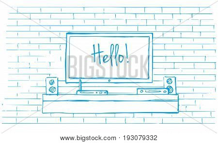 Linear sketch of the interior. Dresser with TV and shelves. Vector illustration.