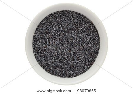 Poppy seeds in white bowl, oilseed, from above, isolated on white background
