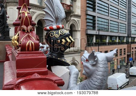 LONDON, GREAT BRITAIN - MAY 13, 2014: This is the sculptural image of a knight and griffin in the center of Holborn Viaduct.
