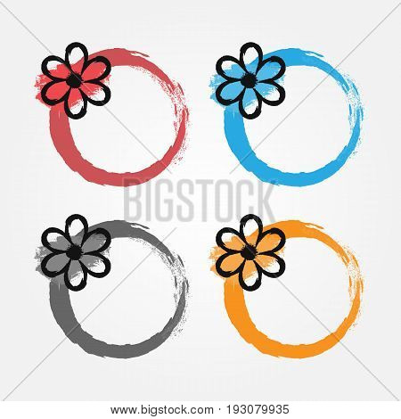 Grunge frame with a black flower. Floral round border painted by hand with a brush. Sketch ink watercolor. Red blue gray orange version of the color. Vector illustration.