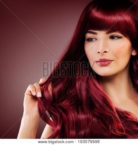 Cute Redhead Woman with Red Hairstyle. Girl with Redhead Curly and Makeup