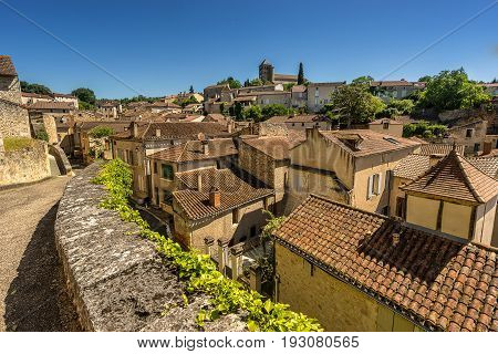 looking across the rooftops of Puy L Eveque on the river Lot in the Lot Valley in south west France