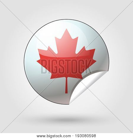 Maple leaf logo sticker, Canadian flag symbol, red color sign background. Icon Vector illustration for Happy Canada Day! greeting card, poster, banner. Maple leaf Label Minimal design.