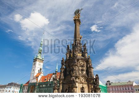 Town hall and Holy Trinity Column in the main square of the old town of Olomouc Czech Republic.