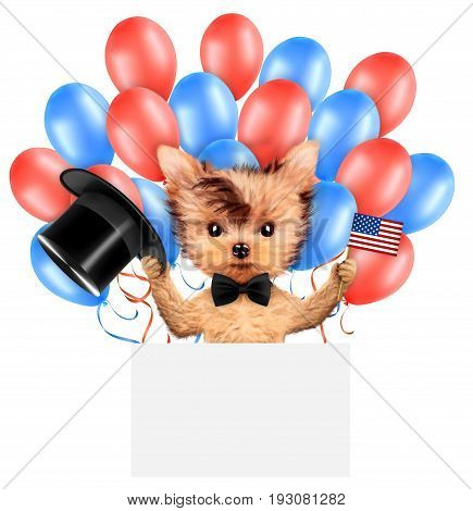 Funny dog holding USA flags, poster and surrounded by balloons. Concept of 4th of July and Independence Day, Realistic 3D illustration.