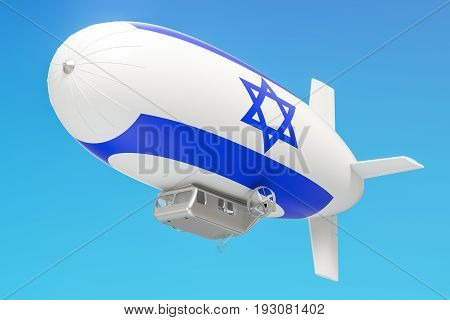 Airship or dirigible balloon with Israeli flag 3D rendering isolated on white background