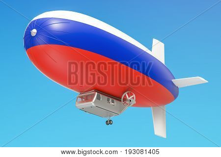 Airship or dirigible balloon with Russian flag 3D rendering isolated on white background