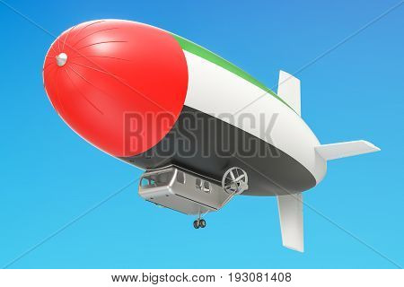 Airship or dirigible balloon with UAE flag 3D rendering isolated on white background