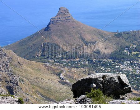View from the top of Table Mountain, looking towards Lions Head 31sfdf