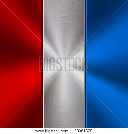 Red, white and blue metal technology background with polished, brushed circular concentric texture, chrome, silver, steel, for design concepts, web, posters, wallpapers, prints. Vector illustration.