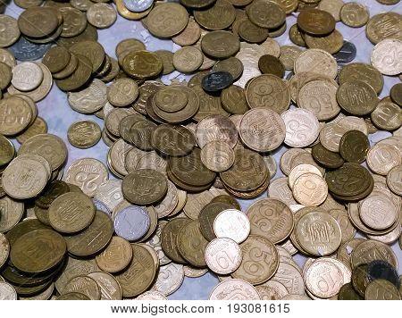 Small metal dirty money a small Ukrainian coin