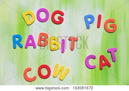 Colorful Letters, Variously Animals, Concept Learn To Write