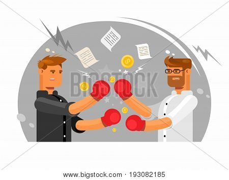 Vector illustration featuring two businessmen having a fight, Business fight club. Boxing and glove, businesspeople and violence, boxer strength.