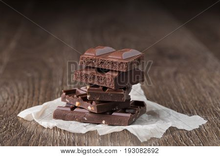 Porous and chocolate with nuts