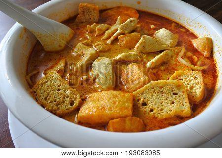 Close Up Of Traditional Malaysian Curry Laksa Dish