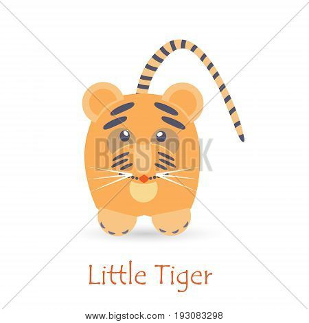 Cute Tiger Kid Isolated on White with the Caption. Made in Flat Style. Vector EPS 10