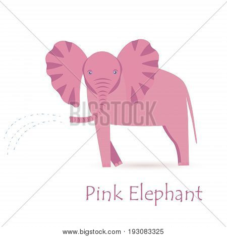 Pink Elephant Calf Isolated on White with the Caption Showering Water Through its Trunk. Made in Flat Style. Vector EPS 10