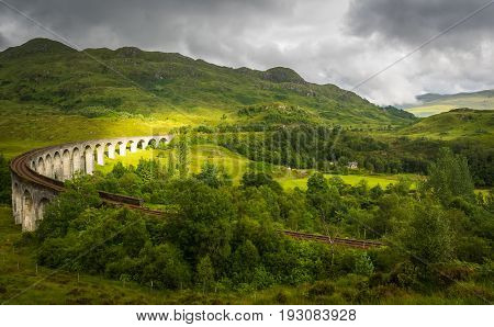 Glenfinnan Viaduct From Above On Cloudy Day