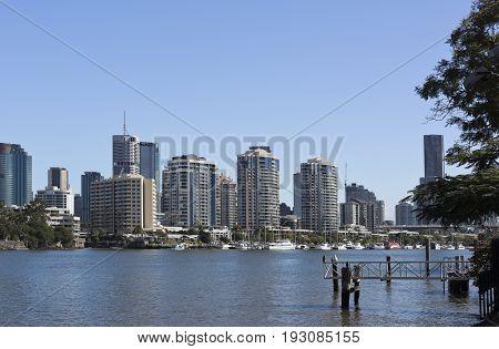 BRISBANE, AUSTRALIA - June 22, 2017: View of the riverside suburb of Kangaroo Point in the Inner city of Brisbane Queensland Australia