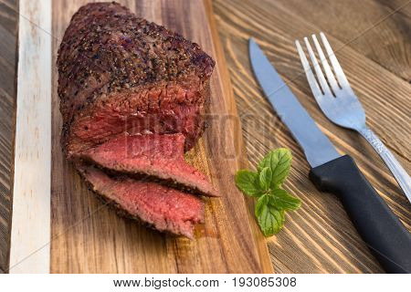 Beef Top Sirloin Steak Roast Sliced Coooked Medium Rare
