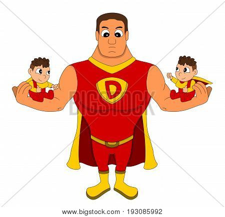 Illustration of superhero dad holding identical twins isolated on a white background