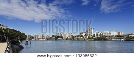 Panoramic view of the Brisbane River towards Norman Park suburb in Brisbane Australia