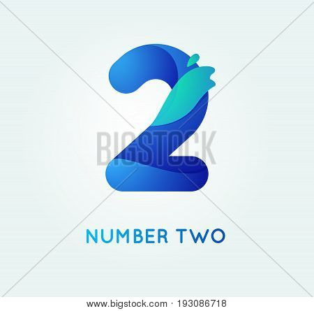 Number two in trend shape style. 2 digit vector icon.