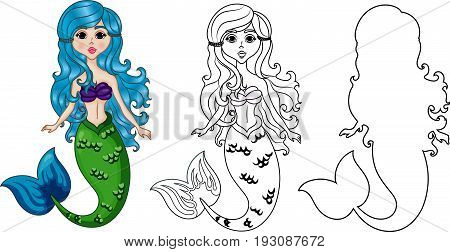 Mermaid Character, Set Color and Uncolored, Coloring Page on White Background, Black-and-white ink Sketch of the Siren, Fairytale Mermaid Cartoon Hand Drawn Vector Illustration EPS 10