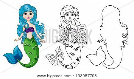 Mermaid Character, Set Color and Uncolored, Coloring Page on White Background, Black-and-white ink Sketch of the Siren, Fairytale Mermaid Cartoon Hand Drawn