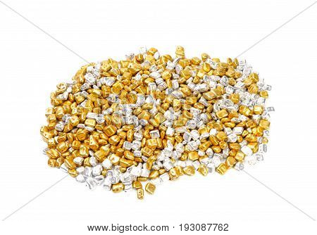 Golden and silver rocks , over white background