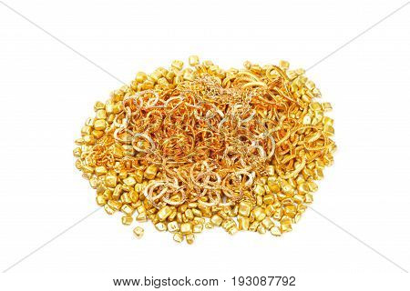 Golden and silver rocks with golden chains , over white background