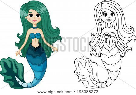 Cute Mermaid Character, Set Color and Uncolored, Coloring Page on White Background, Black-and-white ink Sketch of the Siren, Fairytale Mermaid Cartoon Hand Drawn Vector Illustration EPS 10