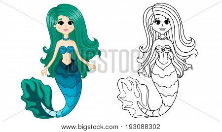 Cute Mermaid Character, Set Color and Uncolored, Coloring Page on White Background, Black-and-white ink Sketch of the Siren, Fairytale Mermaid Cartoon Hand Drawn
