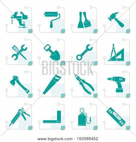 Stylized Building and Construction work tool icons - vector icon set