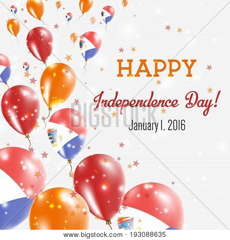Sint Maarten Independence Day Greeting Card. Flying Balloons In Sint Maarten National Colors. Happy