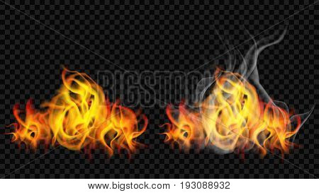 Fire Flame With Smoke And Without