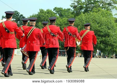 Sandhurst, Uk - June 18 2017: Musicians Of The Military Band Of The Corps Of Royal Engineers Leaving