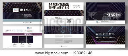Business templates in HD format for presentation slides. Easy editable abstract vector layouts in flat design. Abstract polygonal background with hexagons, illusion of depth and perspective. Black color geometric design, hexagonal geometry.