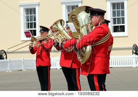 Sandhurst, Uk - June 18 2017: Brass Players Of The Military Band Of The Corps Of Royal Engineers