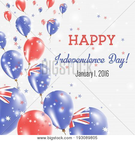 Heard And Mcdonald Islands Independence Day Greeting Card. Flying Balloons In Heard And Mcdonald Isl