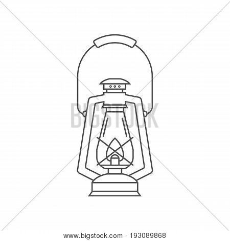 Camping lantern vector outline icon. Single tourist lamp in thin line design isolated on white background. Hiking light lineart pictogram for website and internet.