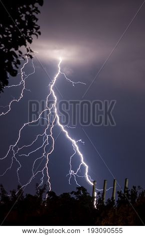 lightnings and thunder bolt strike at summer storm