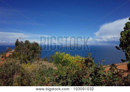 A View Of The Isla De La Luna From The Isla Del Sol On Lake Titicaca