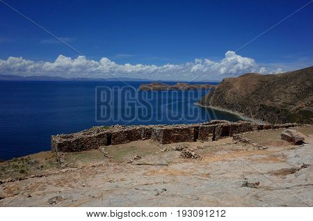 Stunning View Of The Chincana Ruins Overlooking The Beach On The Isla Del Sol On Lake Titicaca