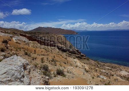 Stunning View Of The Chincana Inca Ruins On The Isla Del Sol On Lake Titicaca
