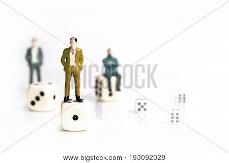 miniature business concept succes and goal isolate on white