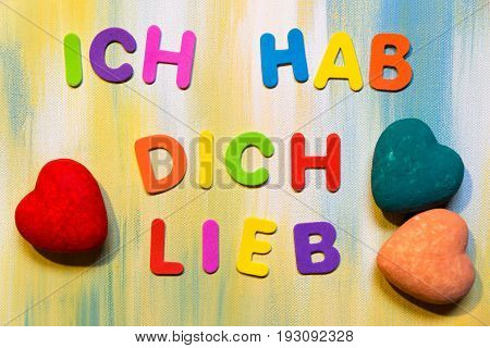 Colorful Letters, German Text, Concept I Love You