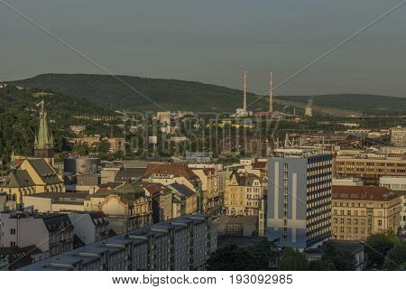 Sunrise in Usti nad Labem city from Marianska rock with bridge and buildings